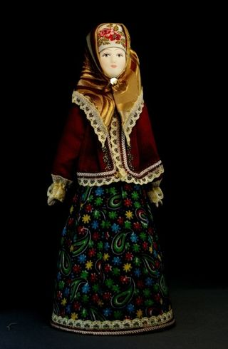 Doll gift porcelain. Russia.Traditional Cossack costume.