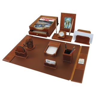 GALANT table set made of genuine leather, 9 items under smooth skin, brown