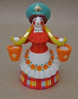 Dymkovo clay toy Lady peasant woman with a yoke