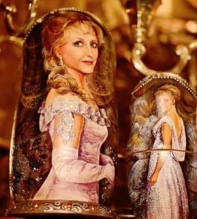 Portrait matryoshka dedicated to Svetlana Krinitskaya, 5 dolls
