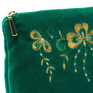 Velvet cosmetic bag Shamrock green with gold embroidery