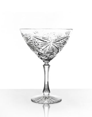 Set of crystal glasses for champagne