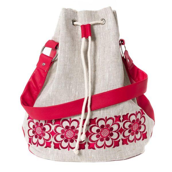 Linen bag Vasilisa gray with silk embroidery