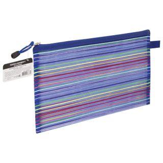 """Folder-zipper envelope B5 format+ (310х220 mm), mesh, BRAUBERG """"Stripes"""""""