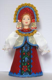 Doll gift. Russia. Girl in formal attire.