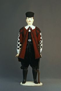 Doll gift porcelain. Spain. Men's noble hunting outfit. 16th century.