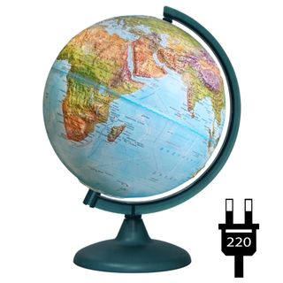 Geographical relief globe with a diameter of 250 mm with backlight