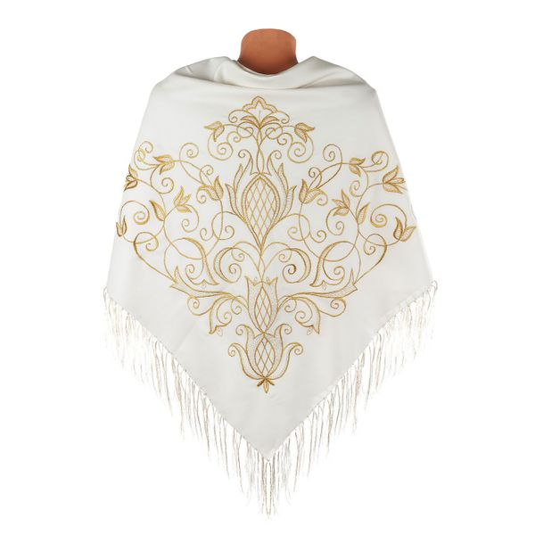Scarf 'Bloom' beige with gold embroidery