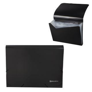 Folder on elastics BRAUBERG, A4, 7 pockets, plastic indexes, black, Russia