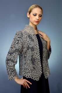 Women's lace jacket with floral ornament, size 50