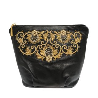 """Leather cosmetic bag """"Dream"""" in black with gold embroidery"""