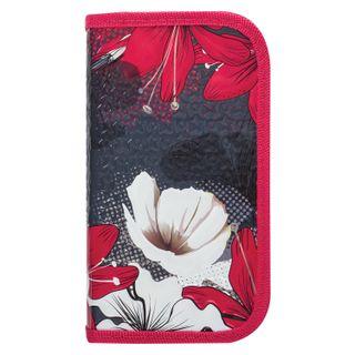 BRAUBERG pencil case, 2 compartments, metalized cardboard, convex, 19х11 cm, Flowers