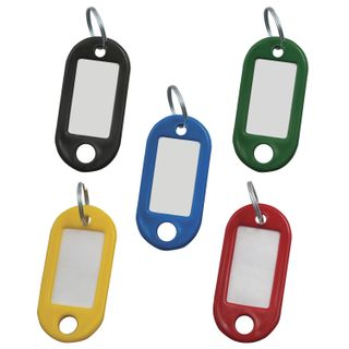 STAFF / Assorted key tags, length 48 mm, info-window 28x15 mm, SET 100 pcs.