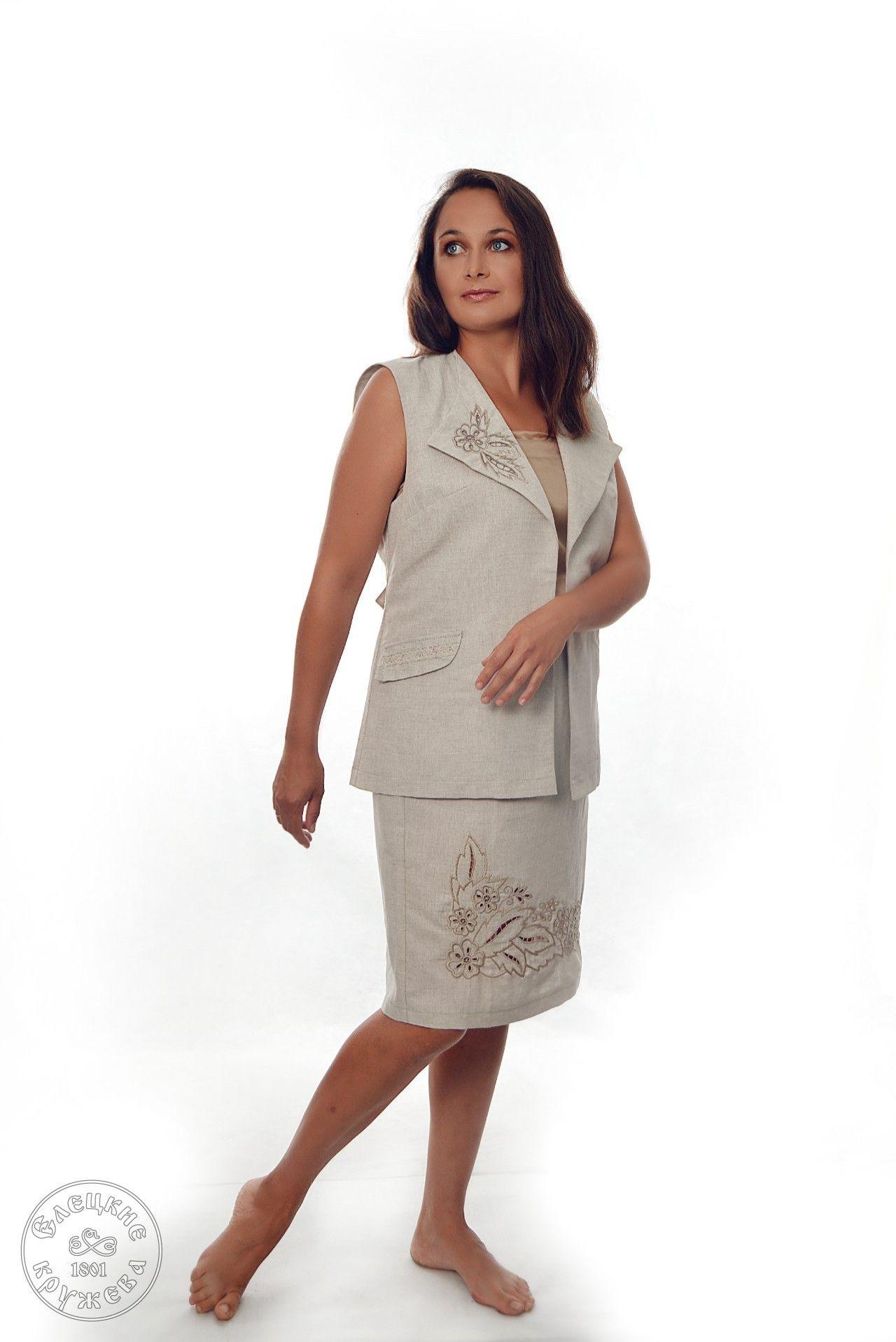 Yelets lace / Women's linen skirt С11726