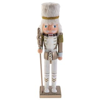"Wooden figurine""Nutcracker Mouse king,"" white 38 cm"