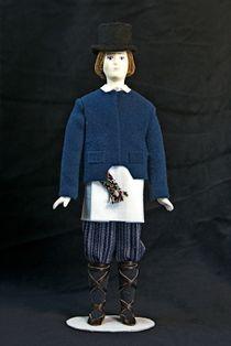 Doll gift. Estonian men's suit is gray. 19th century. Region: Vorumee. Estonia.
