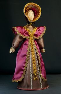Doll gift porcelain. Lady in walking costume. The middle of the 19th century. Petersburg. The European fashion.
