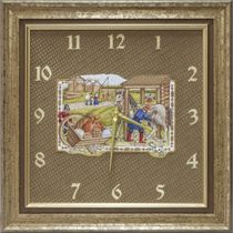 Panel-clock 'To the fair' brown with gold embroidery