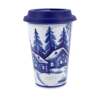 Author's coffee Cup with silicone lid No. 23 (winter-day), Gzhel Porcelain factory