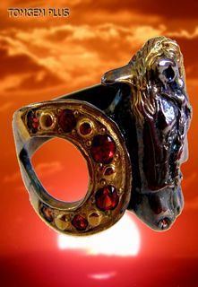 Big Horse 0162 - 925 silver ring with black rhodium plating and gilding