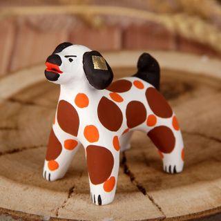 Dymkovo clay toy Dog brown