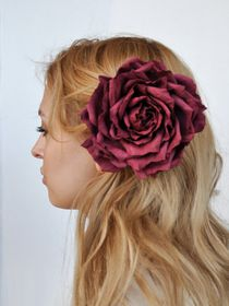 Hair clip brooch rose Burgundy