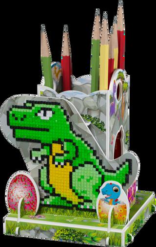 3D puzzle: pencil holder with a diamond mosaic Dinosaur Rex