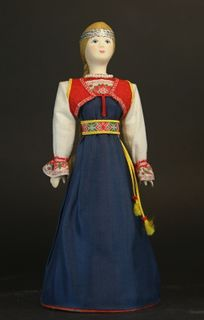 Doll gift porcelain. Finnish maiden costume.