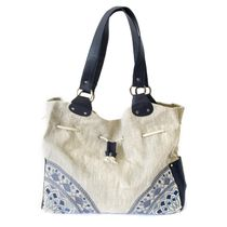 Linen bag Aurora grey with silk embroidery
