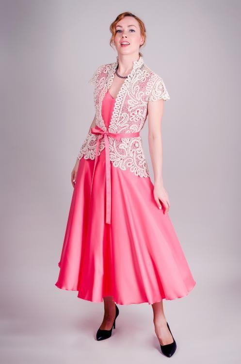 """Dress women's """"Russian seasons"""" semi-fitted silhouette from fluid silk"""