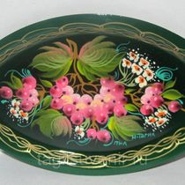 Metal tray oval mini 80x120 mm exclusive painting on metal - a miniature gift