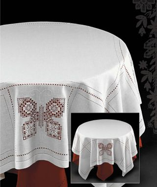 Linen tablecloth with hand embroidery