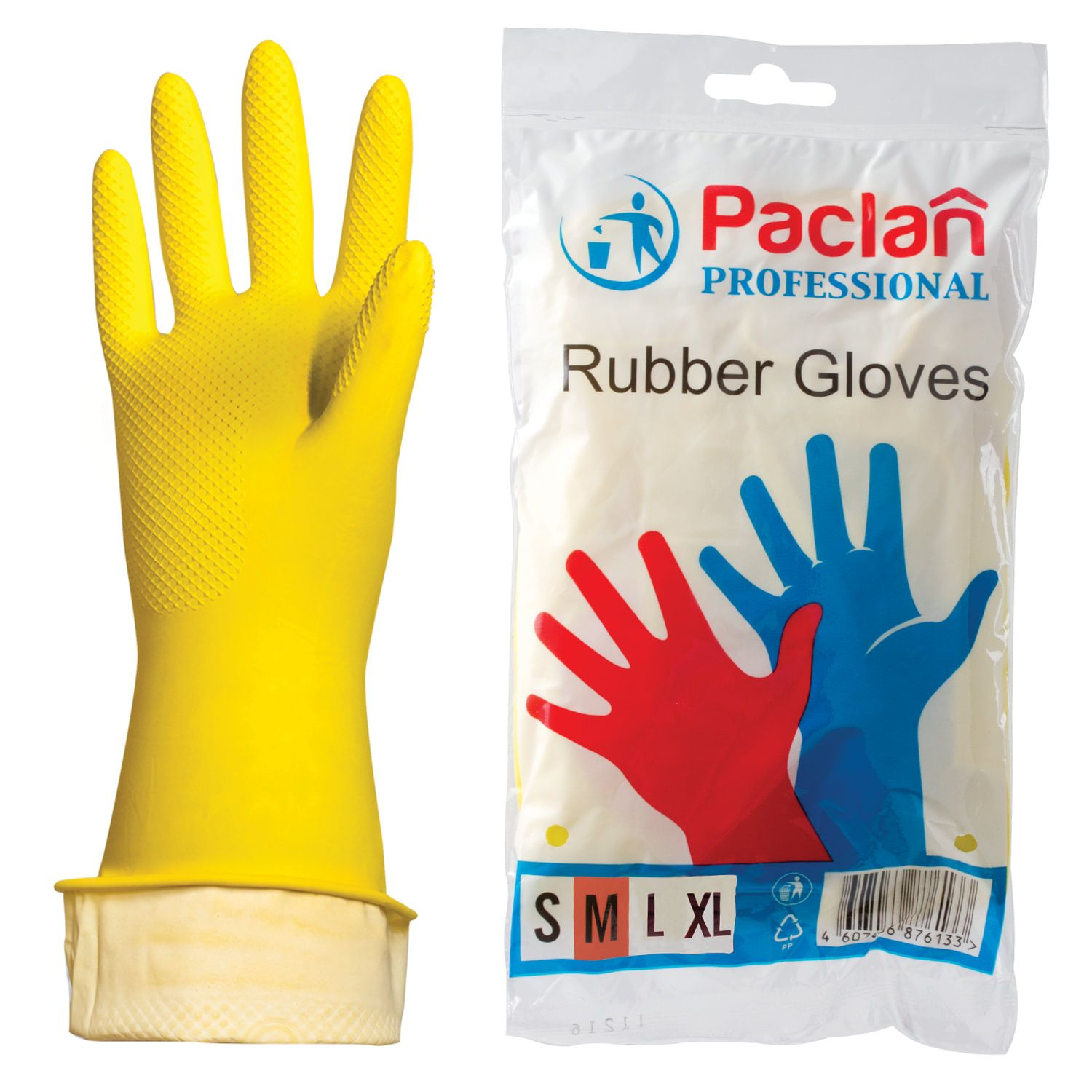 "PACLAN / Latex household gloves ""Professional"" with cotton spraying, size M (medium), yellow"