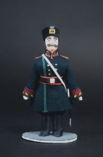 Doll gift porcelain. A policeman in uniform. 1884 Russia.