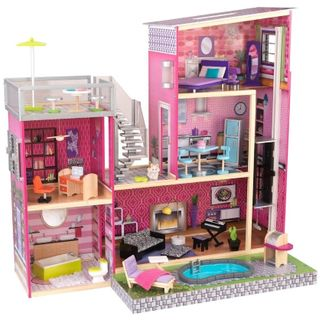 """Wooden doll house with swimming pool """"gloss"""""""