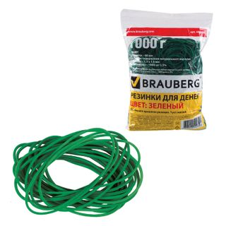 Universal bank elastic bands with a diameter of 60 mm, BRAUBERG 1000 g, green, natural rubber