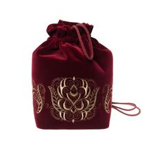 Velvet backpack embroidered with 'Duet', Torzhokskiy seamstresses, Burgundy, handmade