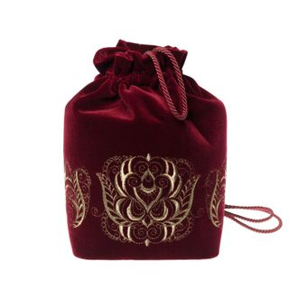 Velvet backpack embroidered with