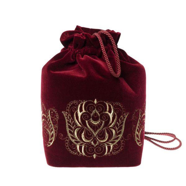 "Torzhok gold embroiderers / Velvet bag-backpack with embroidery ""Duet"" burgundy, handmade"