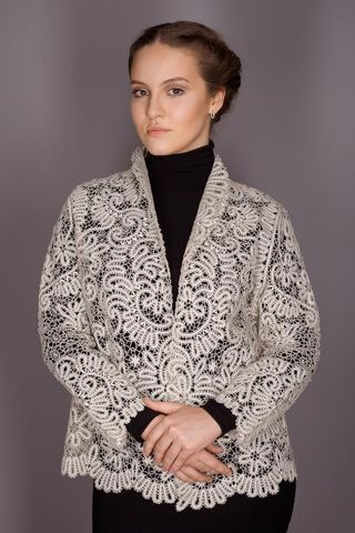 Women's lace jacket with decorative ornament