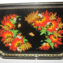 "Rectangular metal tray ""Flowers. Rowan"" 450 x 320 mm - exclusive painting on metal"