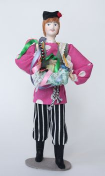 Doll gift porcelain. Russia. Peddler.The traditional costume.18-19 century.
