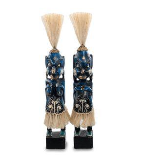 """Wooden statuette """"Asmat blue"""" 33 cm"""