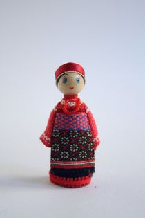 Doll gift. Women's costume of the 19th century, Moscow. Russia