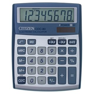Desktop calculator CITIZEN CDC-80WB, COMPACT (135x108 mm), 8 digits, dual power supply