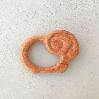 Wooden rattle teething toy