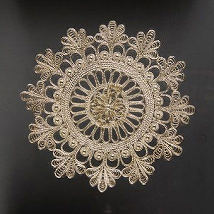Plate 'snowflake' silvering, Kazakovskaya Filigree