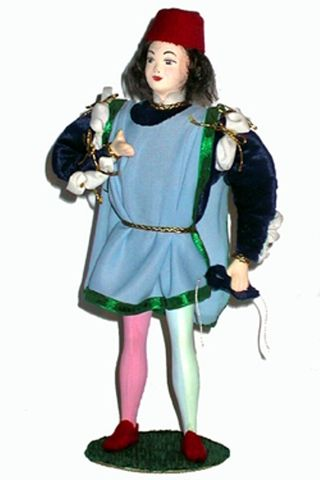 Doll gift. Romeo. Costume of a young citizen. Italy of the 15th century.
