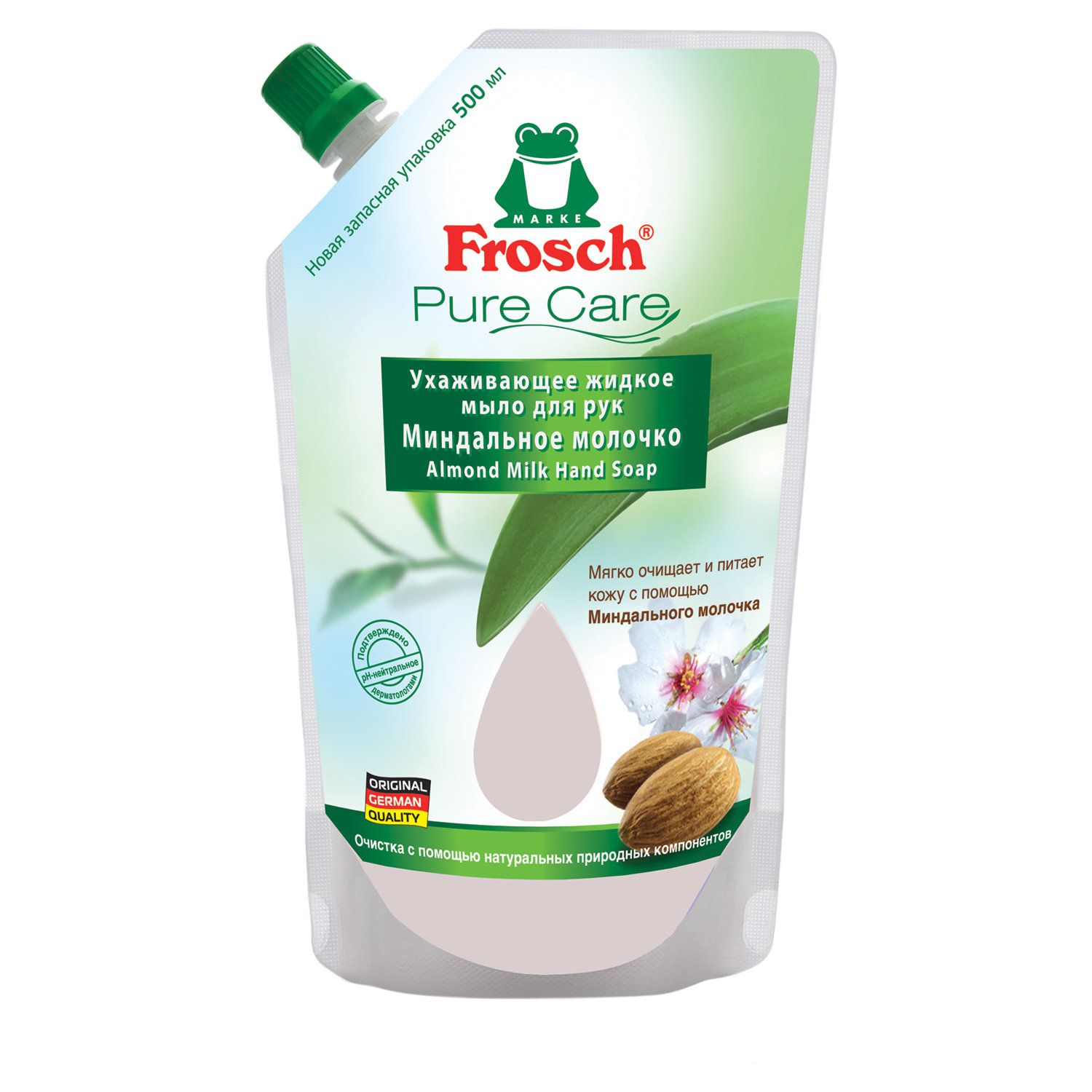 "Liquid soap 500 ml FROSCH ""Almond milk"" (Germany), moisturizing, natural, ECO, doy-pack"