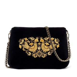 "Velvet bag ""Birds"" in black with gold embroidery"